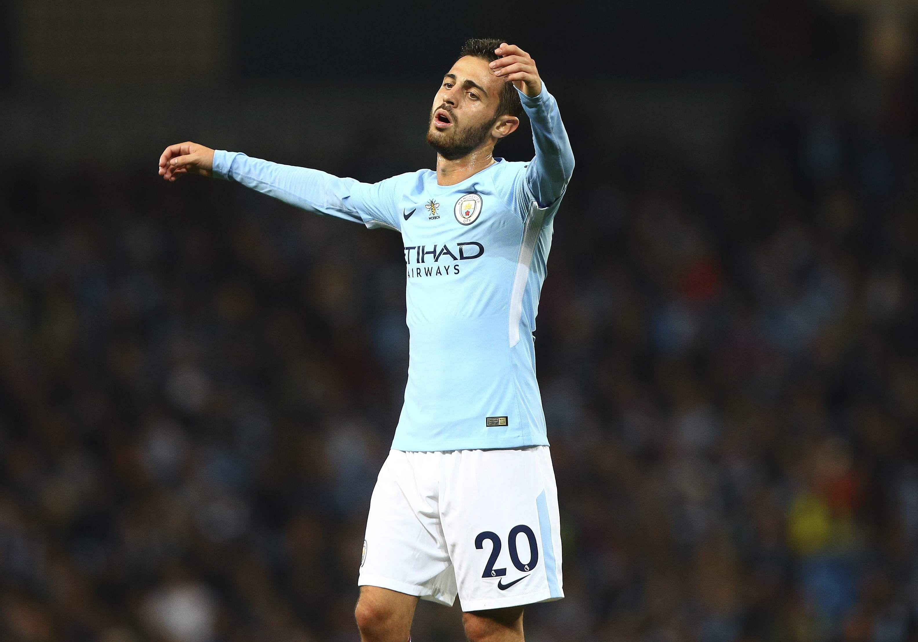 Manchester City's Bernardo Silva reacts during the English Premier League soccer match between Manchester City and Everton at the Etihad Stadium. | AP