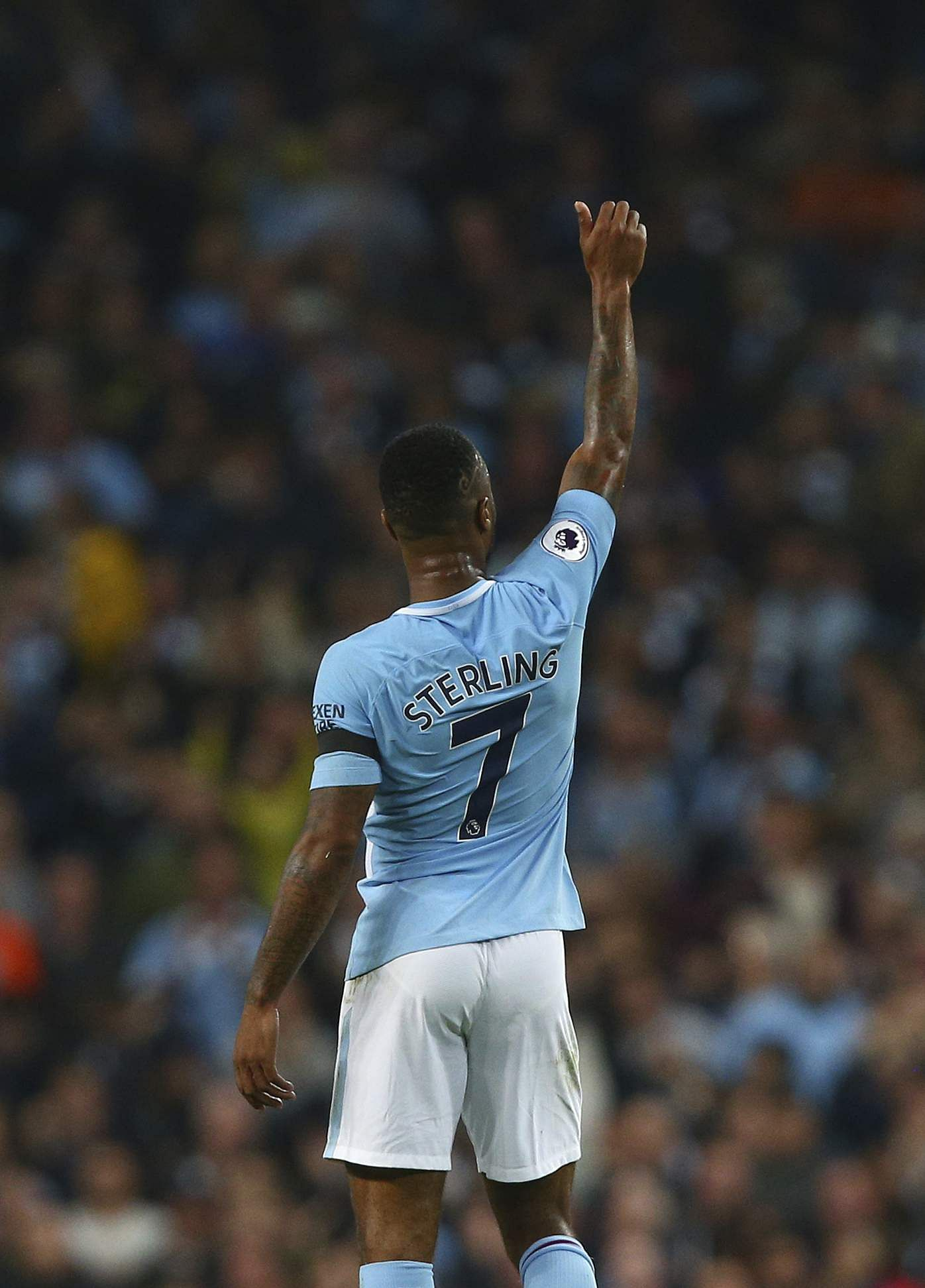 Manchester City's Raheem Sterling celebrates scoring his side's first goal of the game during the English Premier League soccer match between Manchester City and Everton at the Etihad Stadium in Manchester. The game ended in 1-1 draw. | AP