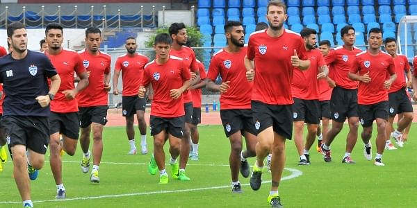 Bengaluru FC players train ahead of their clash in an AFC Cup Inter-zonal semifinal. | Express Photo Service