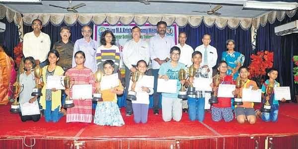 Winners of the 5th MA Krishnaswamy Memorial inter-school chess tournament. | Express Photo Service