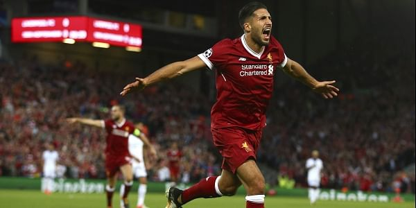 Liverpool's Emre Can celebrates scoring his sides first goal during the Champions League qualifying play-off second leg soccer match between Liverpool and Hoffenheim at Anfield stadium in Liverpool.   AP