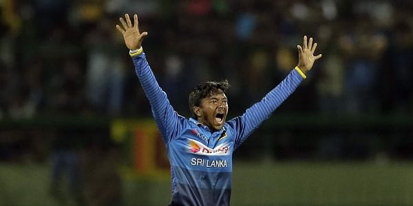 Sri Lanka's Akila Dananjaya appeals successfully for the wicket of India's Rohit Sharma during their second one-day international cricket match in Pallekele. | AP