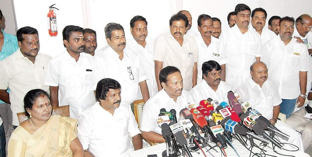 Legislators and MP from Cuddalore speaking to reporters on Saturday | EXPRESS