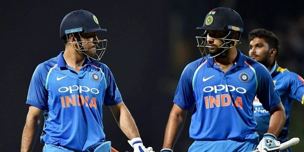 India's Mahendra Singh Dhoni and Rohit Sharma after India won the 3rd ODI match against Sri Lanka at Kendy on Sunday.|PTI