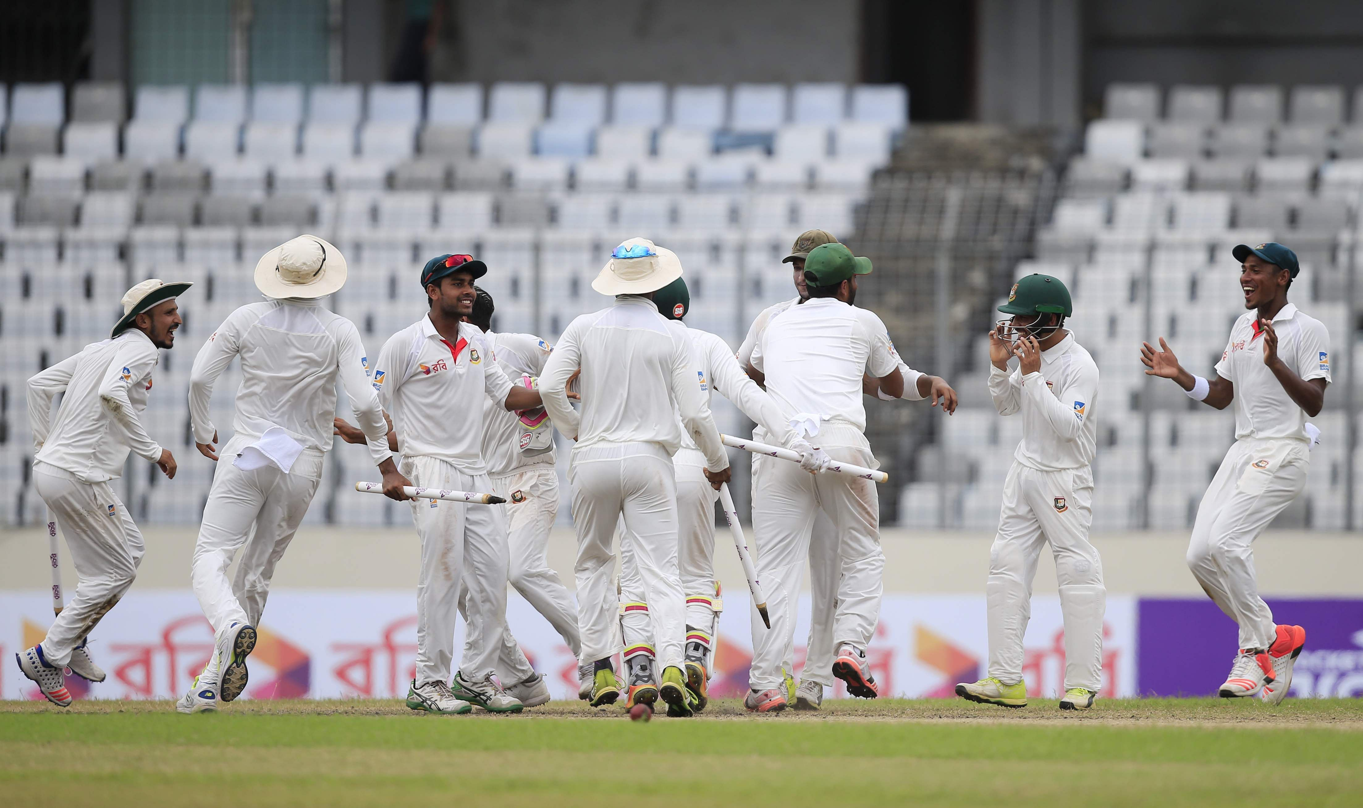 Bangladesh registered their first-ever win over Australia in Test cricket, beating them by 20 runs in Dhaka. Bangladesh players celebrating their victory on the fourth day of the match is seen in the picture. (Photo | AP)