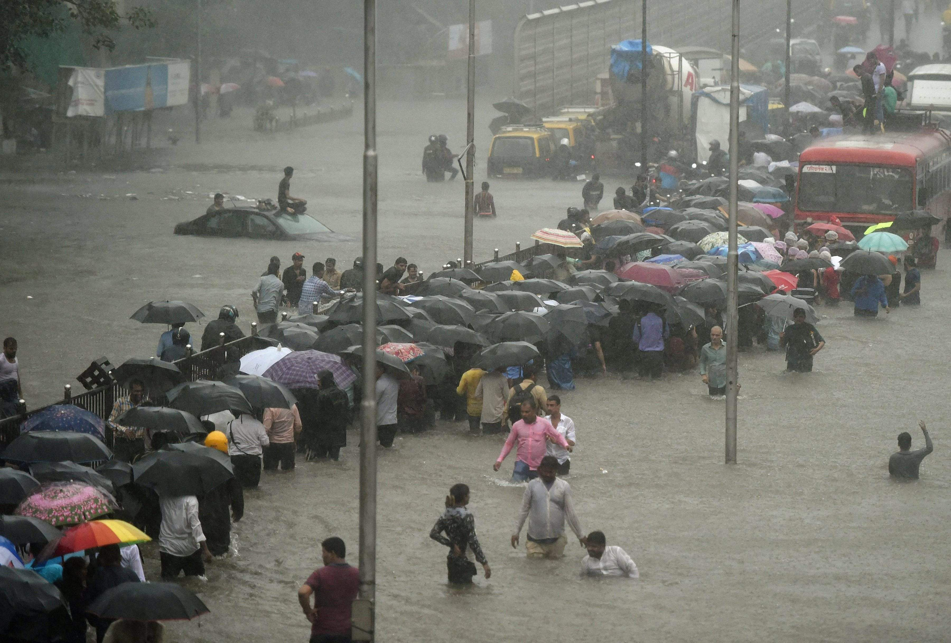 Downpour continues in Mumbai; roads flooded, trains delayed