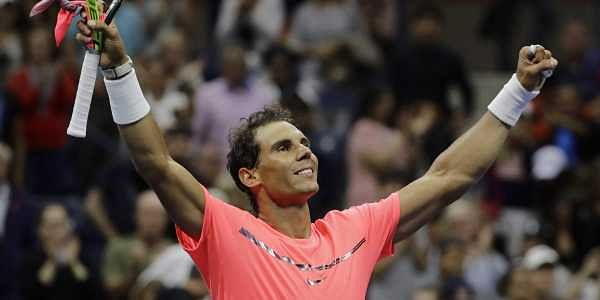 Rafael Nadal, of Spain, celebrates after defeating Dusan Lajovic, of Serbia, during the first round of the US Open tennis tournament. | AP