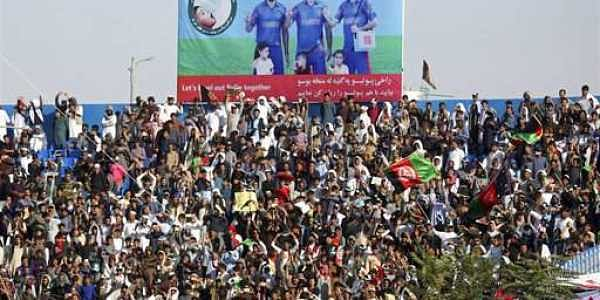 Afghan cricket fans celebrate during a match between Mis-E-Ainak Knights' and Boost Defenders, in Kabul, Afghanistan, Wednesday, Sept. 13, 2017.|AP