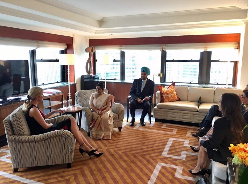 External Affairs Minister Sushma Swaraj meet PM's of Bhutan & Bangladesh