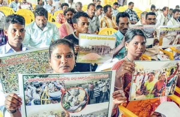 Polavaram project oustees attending a meeting organised by the Left parties in Vijayawada on Tuesday | Express