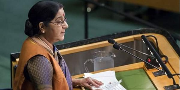 Indian External Affairs Minister Sushma Swaraj addresses the United Nations General Assembly.|AP