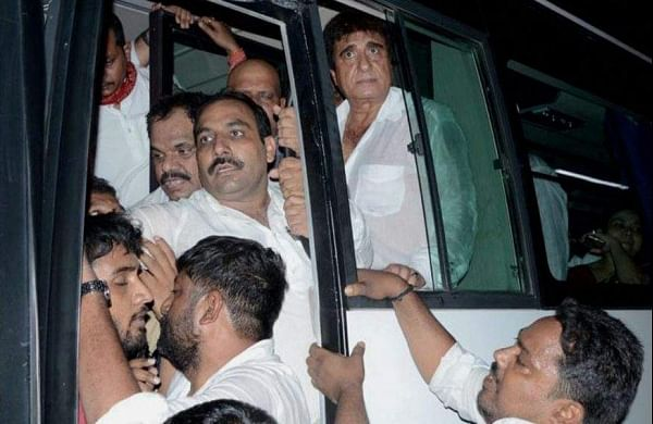 UP Congress President Raj Babbar and other leaders being detained after they held a protest in support of BHU students in Varanasi on Sunday. | PTI