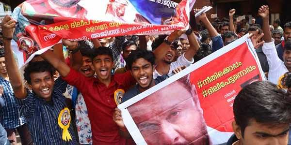Dileep fans celebrate after the first show of Ramaleela at Coronation theatre in Kozhikode on Thursday | Express Photo by TP Sooraj