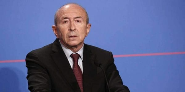 French Interior Minister Gerard Collomb, addresses the medias after signing a counterterrorism law, at the Elysee Palace, in Paris, Monday, Oct. 30, 2017. French President Emmnauel Macron has formally signed a sweeping counterterrorism law that replaces a 2-year-old state of emergency and is meant to give police more tools to fight violent extremism