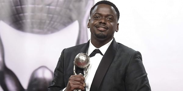 Daniel Kaluuya poses in the press room with the award for outstanding actor in a motion picture for 'Get Out' at the 49th annual NAACP Image Awards