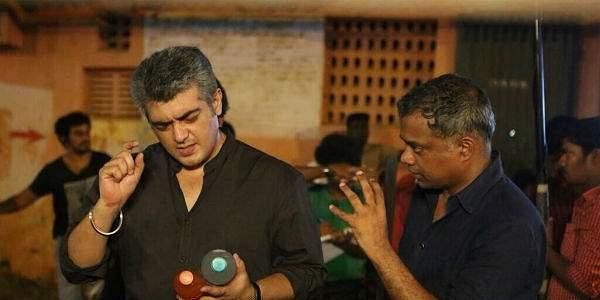 Ajith and Gautham Menon during the shooting of 'Thala 55'