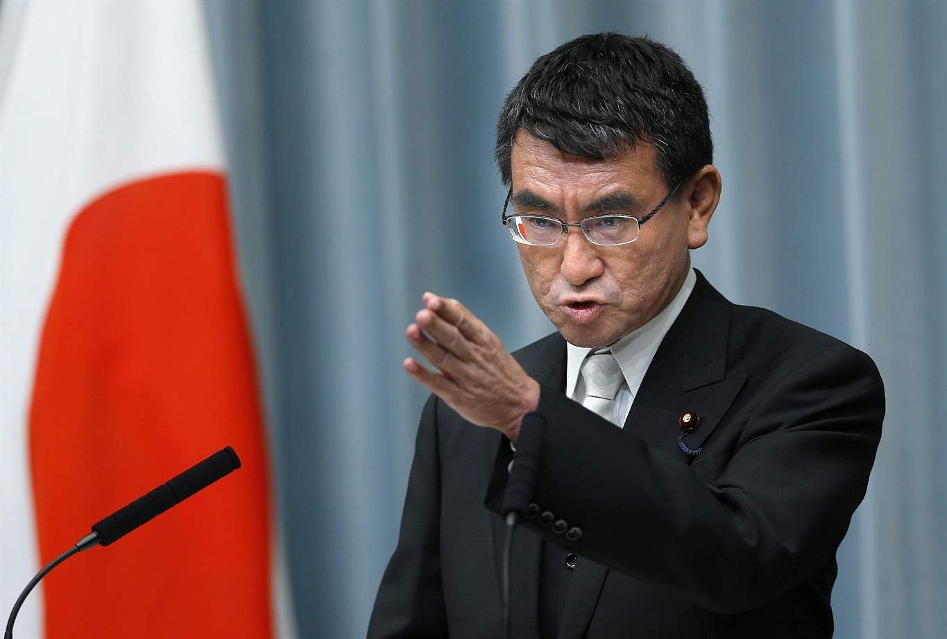 In this Aug. 3, 2017 file photo, Japan's Foreign Minister Taro Kono speaks during a press conference at the prime minister's official residence in Tokyo. (Associated Press)