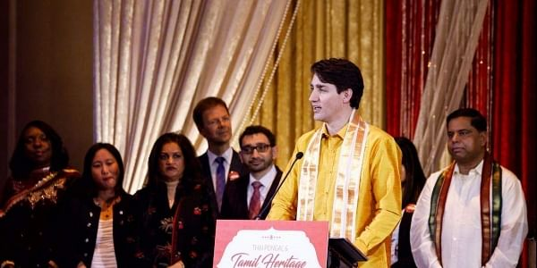 Justin Trudeau, the Canadian Prime Minister was also seen donning the traditional Tamilian attire, with a white Dhoti, Yellow silk shirt and an angavastram. (Photo | Twitter)
