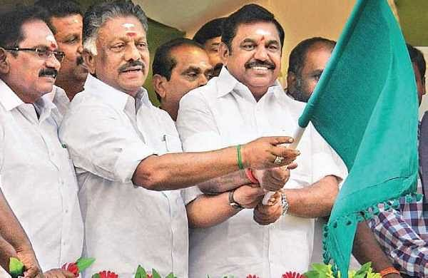 Chief Minister Edappadi K Palaniswami and Deputy Chief Minister O Panneerselvam flagging off the jallikattu event in Alanganallur; and scenes from the arena, where bravehearts tried taming bulls on Wednesday | K K Sundar