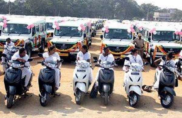 Auxillary Nurse Midwives with their bikes in Hyderabad | sathya keerthi