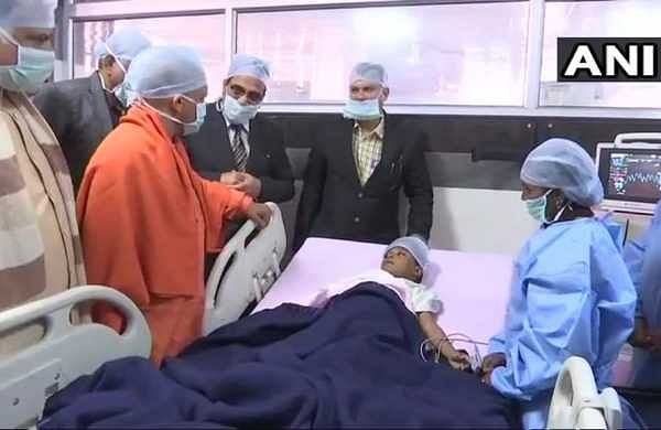 UP CM Yogi Adityanath met the student of Class 1 of Brightland School who was injured after another student attacked him. (ANI)