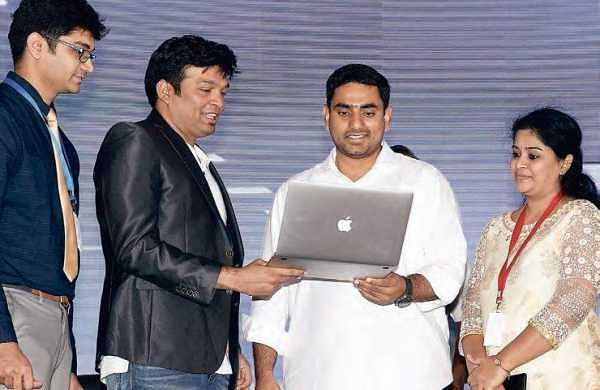 IT Minister Nara Lokesh during the inauguration of 16 IT companies at Tech Park in Mangalagiri, Guntur district on Wednesday | Express
