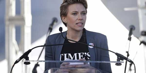 Actress Scarlett Johansson speaks at a Women's March against sexual violence and the policies of the Trump administration. (Photo | AP)