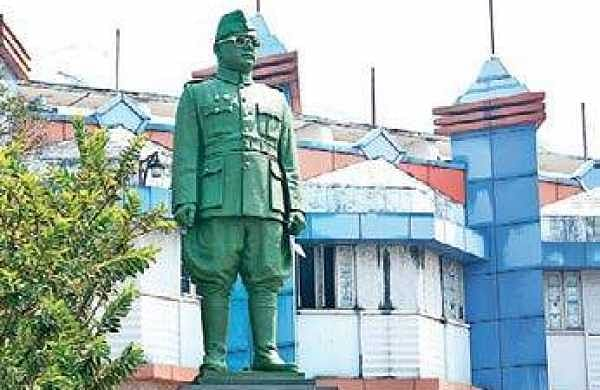 The statue of Netaji Subash Chandra Bose at PMG seen painted green  Manu R Mavelil