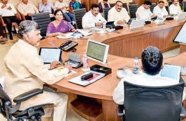 Chief Minister N Chandrababu Naidu at the Cabinet meet at Velagapudi on Saturday | Express