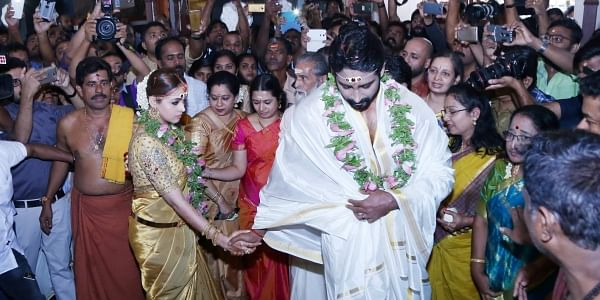 In the presence of close relatives and friends, Malayalam actress Bhavana Menon and Kannada film producer Naveen tied the knot at Thrissur Thiruvambady Sree Krishna temple at 9.40am on Monday.