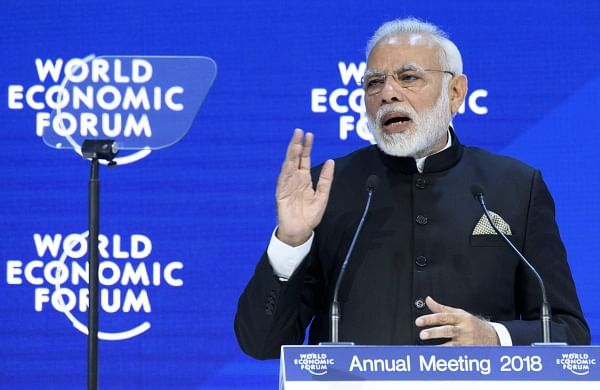 Prime Minister Narendra Modi speaks during a plenary session in the Congress Hall the opening day of the 48th Annual Meeting of the World Economic Forum, WEF, in Davos, Switzerland. | AP