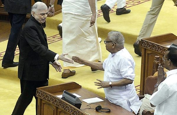 Governor P Sathasivam greeting veteran CPM leader  V S Achuthanandan while returning after his customary address before the beginning of the Budget session of the Legislative Assembly on Monday| Manu R Mavelil