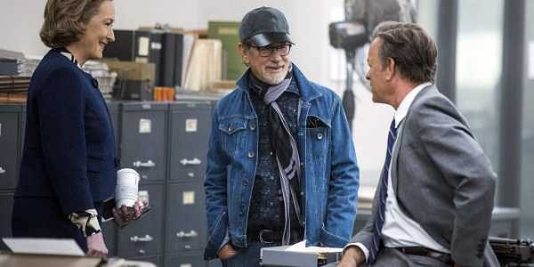 This image released by 20th Century Fox shows actress Meryl Streep, (from left), director Steven Spielberg, and actor Tom Hanks on the set of 'The Post.' (Photo | AP)
