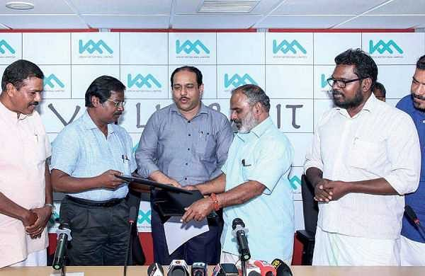 The JDI  signed between  Thiruman Archunan (Director Projects, KMRL) and M B Syamathabhadran, convener, District Co-ordination Committee of autorickshaw drivers' unions in the presence of Mohammed Hanish, MD, KMRL, at the KMRL office on Tuesday | Express