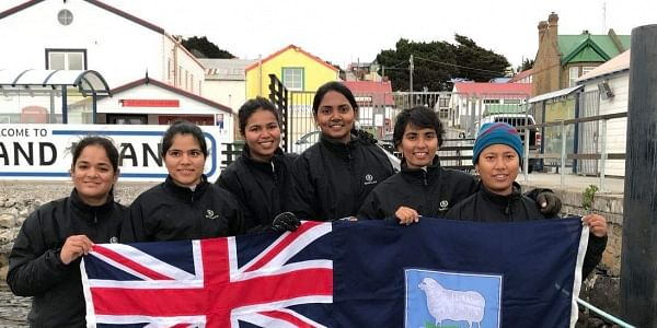 An Indian Navy sailing team out to make history as the first-ever voyage by an all-women crew to circumnavigate the globe is now docked at Port Stanley, the capital of Falkland Islands – a British Overseas Territory.