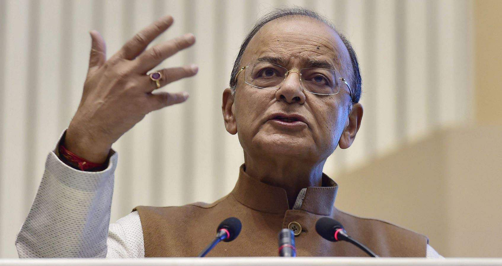 Union Minister for Finance and Corporate Affairs Arun Jaitley addresses at the Investiture Ceremony and International Customs Day 2018 in New Delhi on Saturday. (PTI)