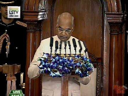 President Kovind addressing the joint sitting of both the Houses of the Parliament