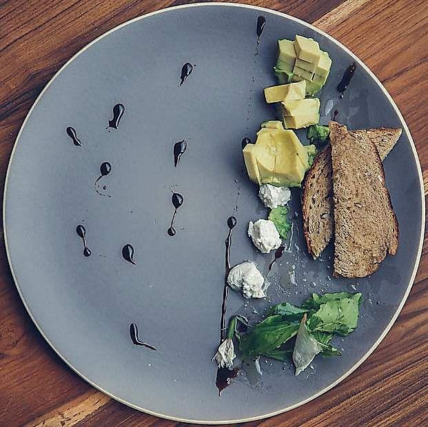 smashed avocado, sobha bowl, beetroot and peanut chops, goat cheese raita