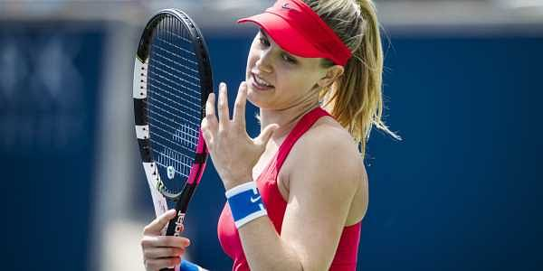 Eugenie Bouchard reacts after a point during her match against Donna Vekic. | AP