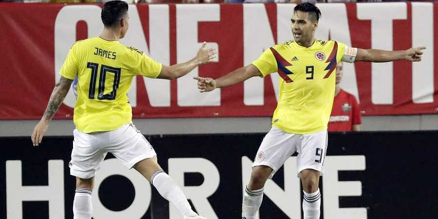 Colombia's Radamel Falcao and James Rodriguez