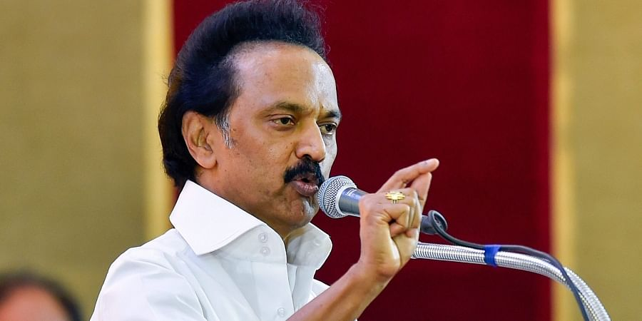 DMK Working President M K Stalin addresses during the party's General Council Meeting at Anna Arivalayam in Chennai. (Photo | PTI)