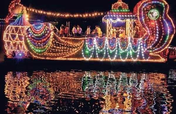 A trial run was conducted of Hamsa Vahanam in Krishna river on Wednesday ahead of Theppotsavam in Vijayawada | P Ravindra Babu