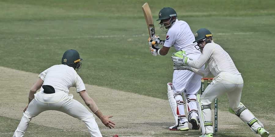Pakistan's Babar Azam plays a shot during their test match against Australia in Abu Dhabi, United Arab Emirates. (Photo   AP)