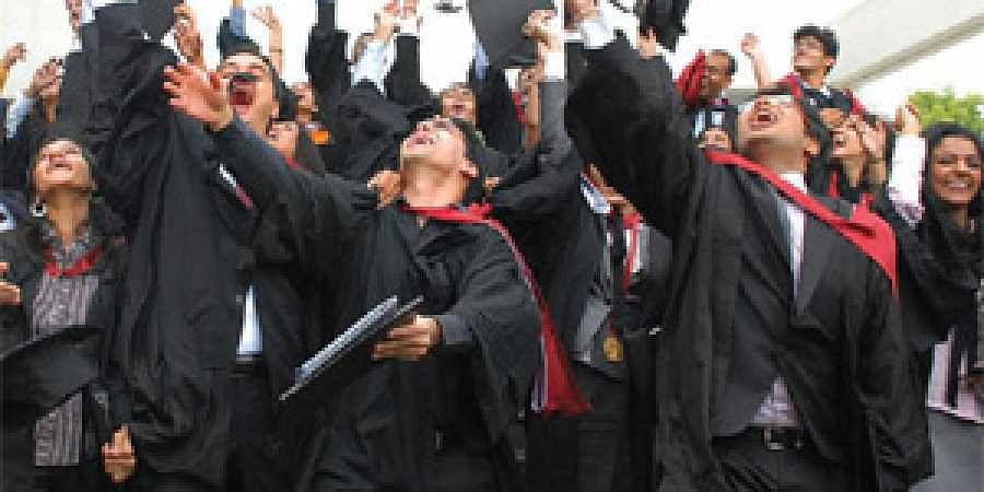 The jubilant law graduates at the convocation.