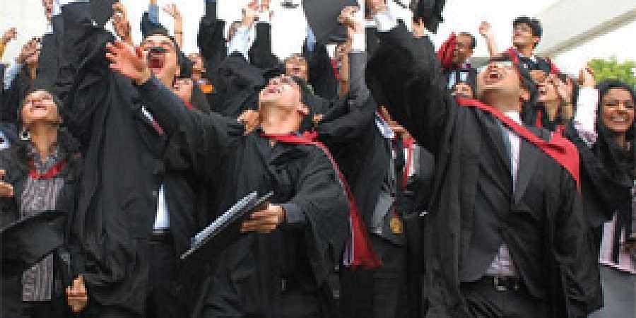 The jubilant law graduates at the convocation.