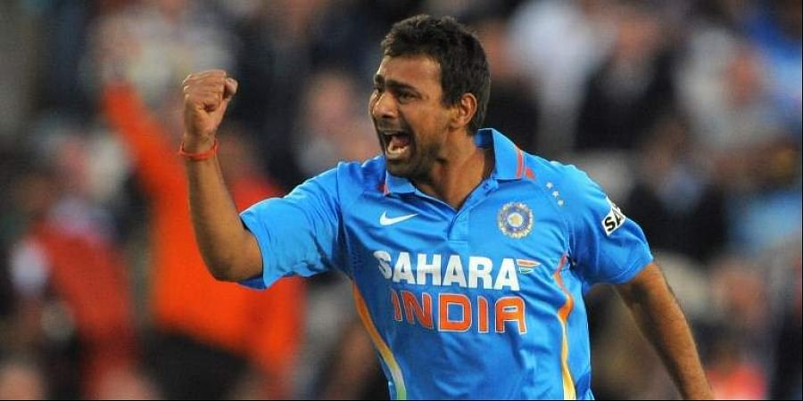 India's Praveen Kumar celebrates after taking the wicket of England's Alex Hales for 0 during the 20-20 cricket match between England and India at Old Trafford cricket ground in Manchester, north-west England on August 31 2011. (File Photo | AFP)