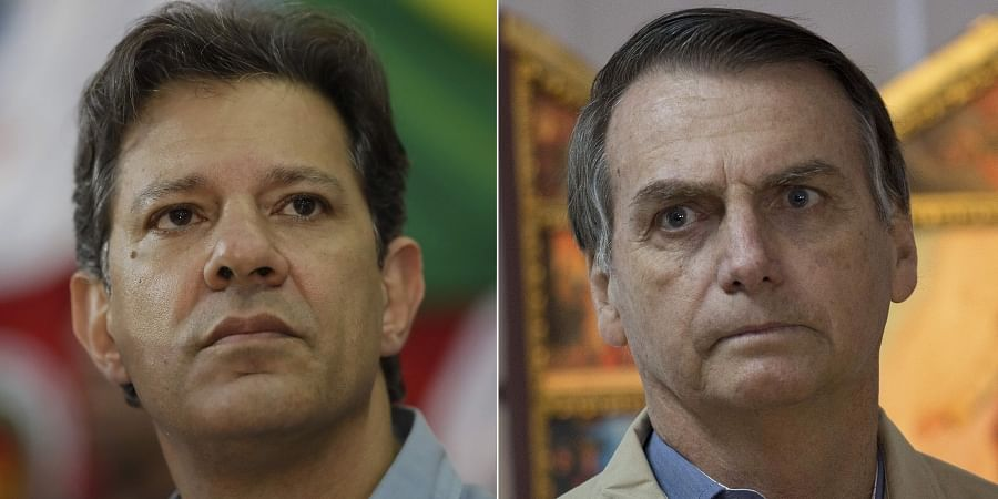 This file photo combo shows Brazilian presidential candidate of the Workers' Party Fernando Haddad, left, in Sao Paulo. (Photo | AP)