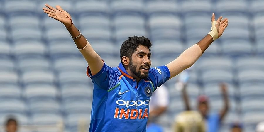 Indian bowler Jasprit Bumrah appeals for the dismissal of a West Indies' batsman during the third ODI cricket match in Pune. (Photo | PTI)