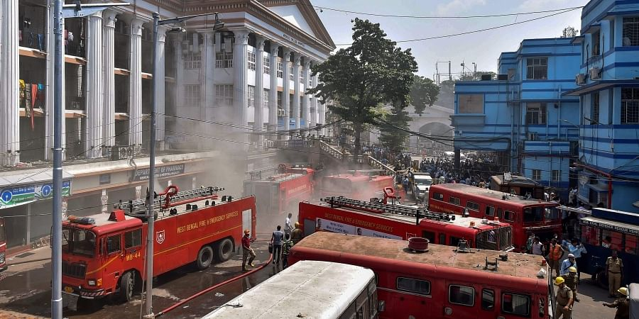 f45af0fe787 Firefighters work to control a fire at Calcutta Medical College and  Hospital in Kolkata
