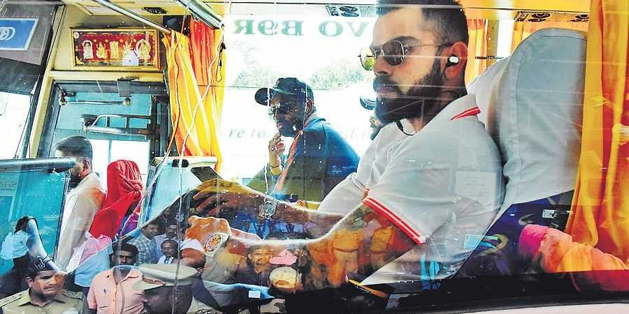 Indian team led by skipper Virat Kohli arriving at Thiruvananthapuram airport on Tuesday ahead of their fifth ODI match against West Indies at the Sports Hub in Thiruvananthapuram | B P Deepu